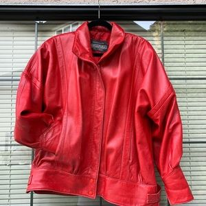 RETRO Red Leather Jacket!